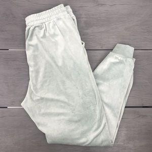 Revamped velvet jogger sweatpants lounge wear mint green size large